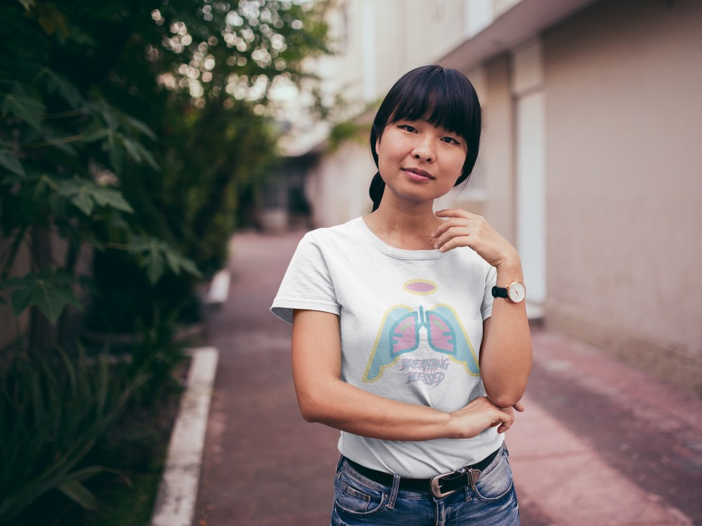 Asain Girl in Alley Easter Wing Icon WT Tee