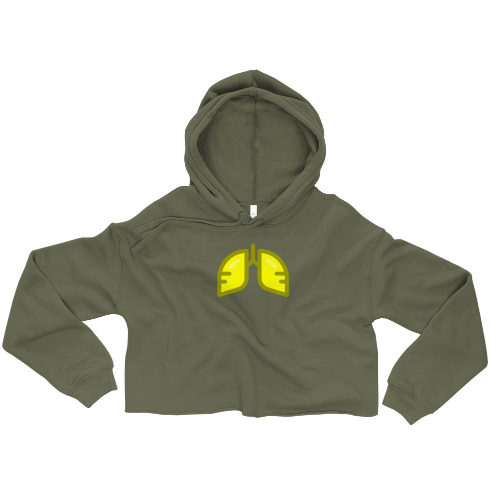 Neon Yellow Icon Crop Hoodie