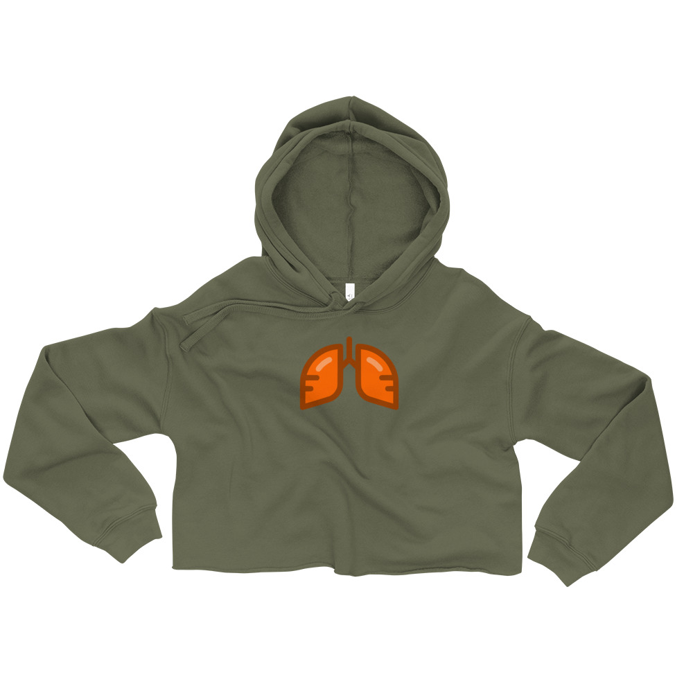 Neon Orange Icon Crop Hoodie