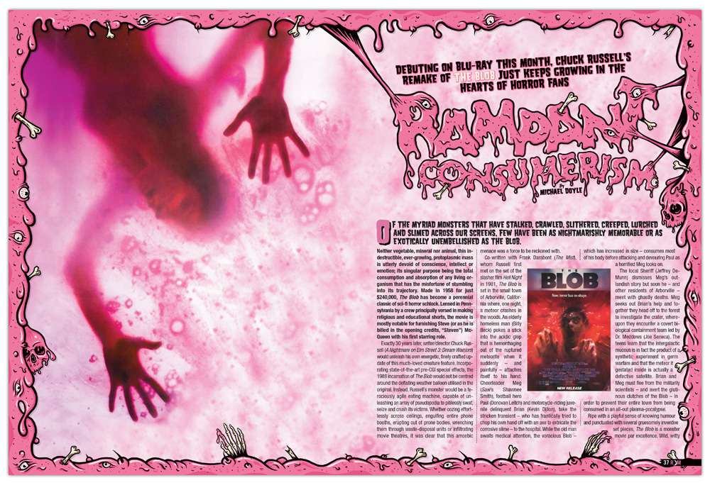 Design, Editorial design, Graphic Design, Horror, Howl Of Justice, Layout, Magazine, Rue Morgue Magazine, The Blob