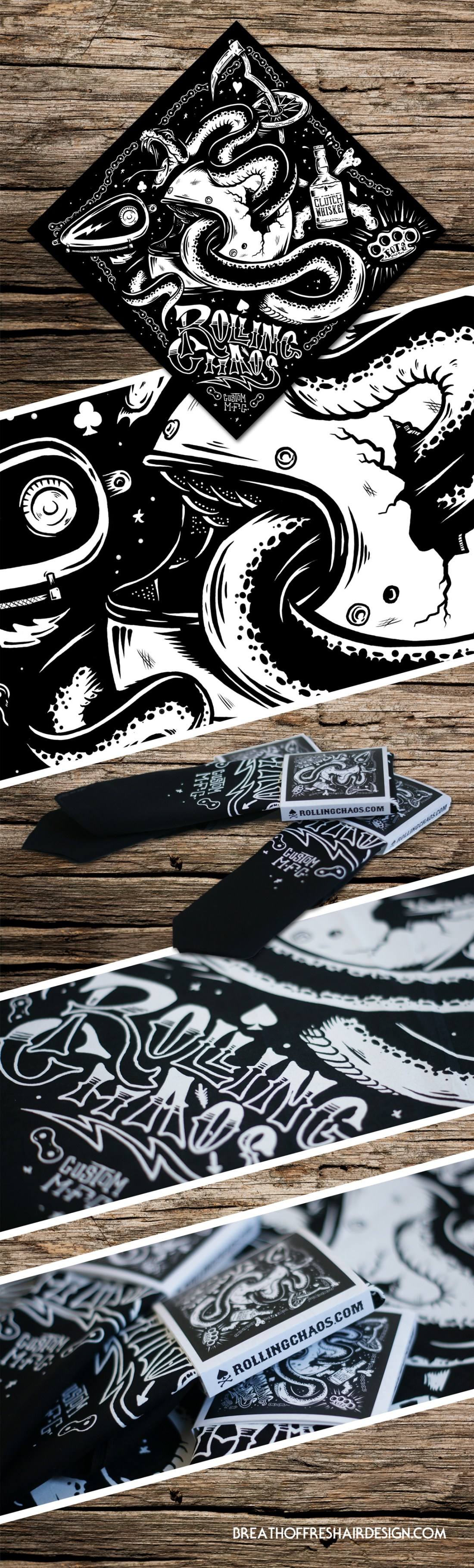 Rolling Chaos, Bandana, Fight Off The Snakes, Illustration, Graphic Design, Packaging, Helmet, Motorcycle, Chopper, Snake, Whiskey, Tank, Toronto