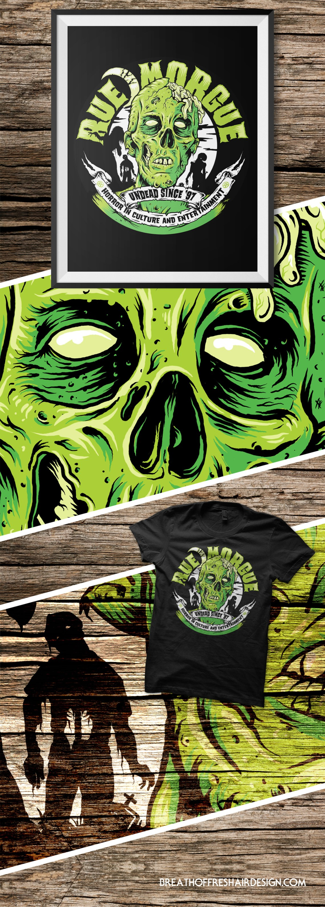 Rue Morgue, Magazine, Zombie, Horror, Death, Illustration, TShirt Design, Graphic Design, Toronto, Skull, Brains, Breath Of fresh Air Design