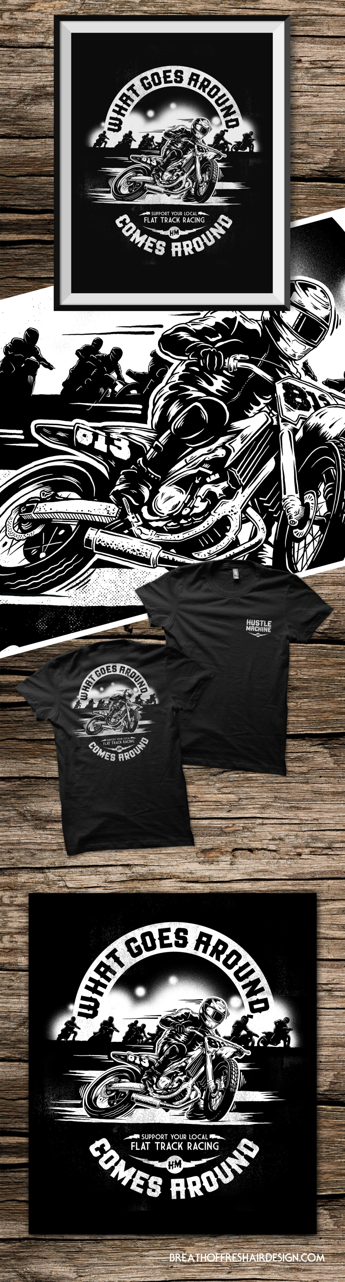 Hustle Machine, Clothing, Brand, Flat Track, Motorcycles, Choppers, Forever Two Wheels, Tshirt Design, Illustration, Clothing, Chopper, Open Road, Alone At Last