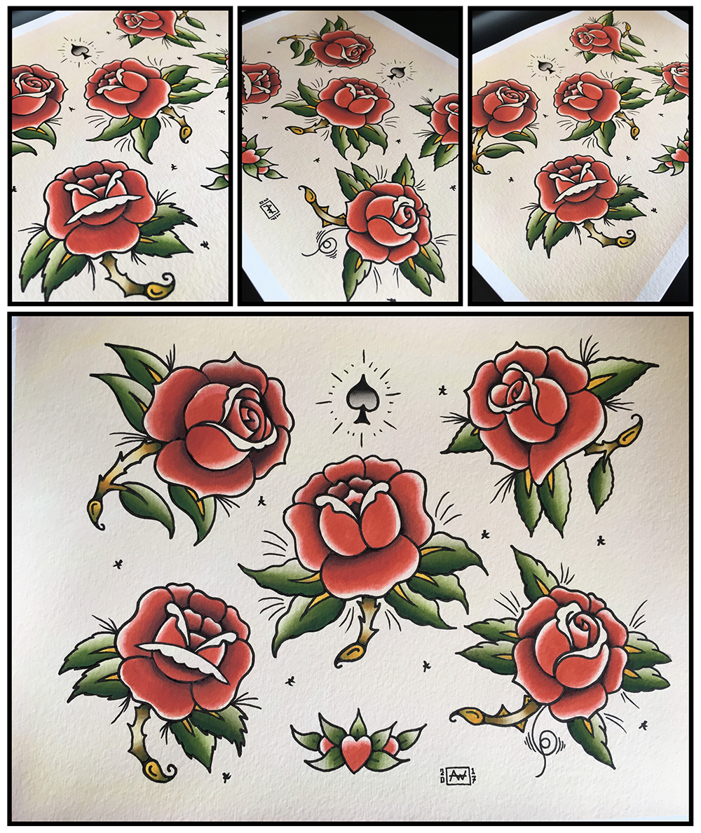 Tattoo flash, Tattoo, Tattoos, Watercolour, Watercolor, Painting, Art, Roses, Daggers, Sailor Jerry, Inspired, Illustration, Hand drawn, Paint, Tattoo Flash Watercolor, Breath Of Fresh Air Design, BOFA Design, Toronto, Old School, Diamonds, Kustom Art