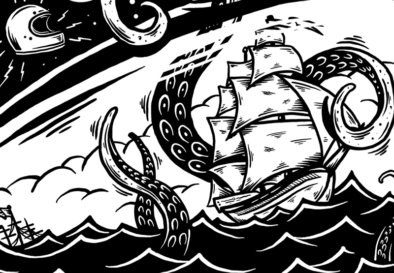 Rolling Chaos, Illustration, Graphic Design, Art, Riding Out The Storm, Sea, Lost at Sea, Clothing, Brand, Rope, Helmet, Tshirt design, Toronto, Canada, Graphic Designer, Illustrator, Motorcycles, Choppers, Kustom art, Motorbikes, Gas Tank