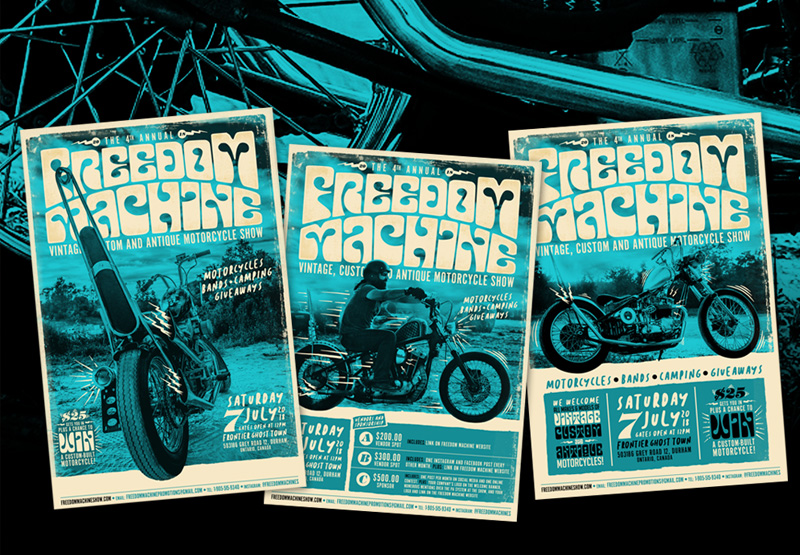 Freedom Machine Show, Choppers, Bobbers, Cafe Racer, Motorcycle show, Canada, Ontario, Branding, Logo Design, Advertising, Marketing, Posters, Fliers, Graphic Design, Layout, Editorial, Illustration, Breath Of Fresh Air Design, BOFA Design, Harley Davidson, Yamaha, Gas Tank, FTW, Speed, Art, Kustom Kulture, Custom art,