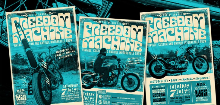 Freedom Machine Show, Choppers, Bobbers, Cafe Racer, Motorcycle show, Canada, Ontario, Branding, Logo Design, Advertising, Marketing, Posters, Fliers, Graphic Design, Layout, Editorial, Illustration, Breath Of Fresh Air Design, BOFA Design, Harley Davidson, Yamaha, Gas Tank, FTW, Speed, Art, Kustom Kulture, Custom art,