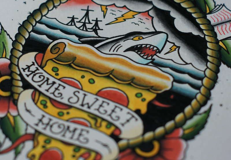 Tattoo Flash, Tattoo, Home sweet home, Watercolour, Watercolor, Painting, Sailor Jerry, Art, Sharks, pizza, coffee, Duck You, sea, Sailor, watercolour tattoo, Breath Of Fresh Air Design, Illustration, Toronto, Graphic Design, Illustrator, Graphic Designer, Ontario, Canada