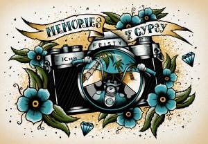 Memories Of A Gypsy, Tattoo Flash, Digital Illustration, Illustration, Camera, Pentax K1000, Motorcycle, Palm Trees, Graphic Design, Art, Illustrator, Toronto, Tattoo, Flowers, Banner, Diamonds, Custom Art, Flash