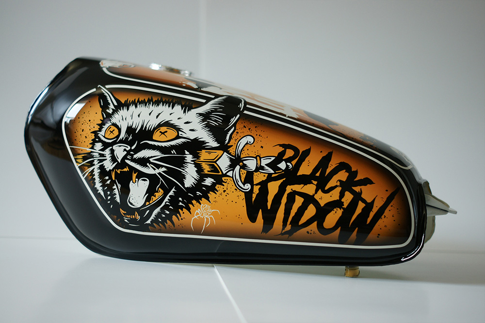 Gas Tank Art, Gas Tank, Illustration, Rolling Chaos, Black Widow Custom Paint, Breath Of Fresh Air Design, Art, Graphic Design, Custom Paint, Collaboration, Illustrator, Toronto, Ontario, Kustom Art, Cat, Dagger, Tattoo, Nine Lives, Rats, Skulls, Rat Skull, Chopper, Motorcycle, Motorcycle Art