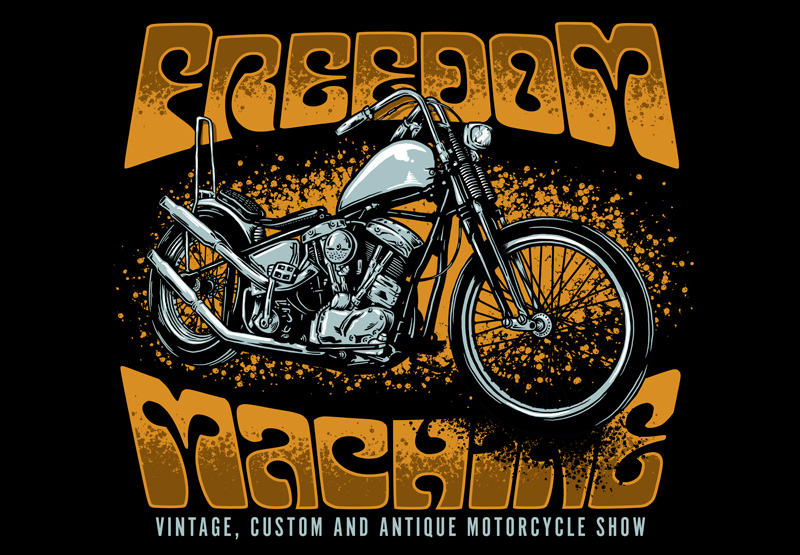 Freedom Machine Show, Illustration, Illustrator, Graphic Design, Motorcycle, Chopper, Custom Art, Freedom Machine, Toronto, Ontario, Drawing, Clothing Design, Tshirt, Freedom, Bike Show, Motorcycle Show, Vintage motorcycle