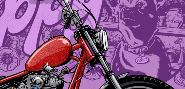 Poppy, Emma, Lone Wold and Co, Illustration, Violent, Chopper, Yamaha, XS650, Dog, Purple, Graphic Design, Breath Of fresh Air Design, Art, Motorcycle Art, Kustom Art, FTW, Speed, Digital Illustration, Illustrator