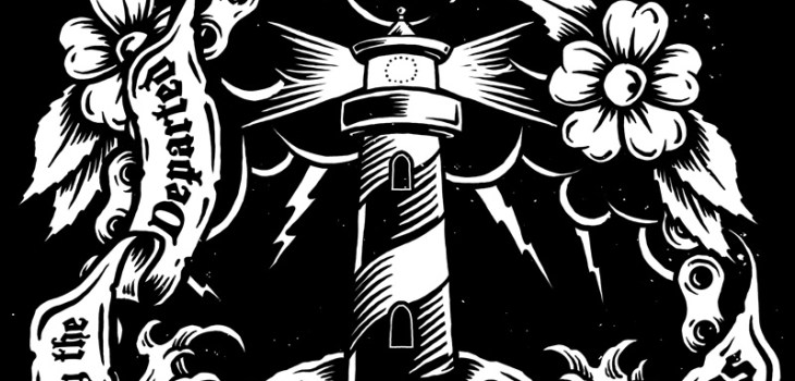 Guided By The Departed, Rolling Chaos, Skull, T-shirt, Illustration, Lighthouse, Motorcycle, Clothing Brand, Choppers, Motorcycle Brand, Motorcycle Clothing, Sea, Chain, Motorcycle Chain, Clouds, Lightning, Tattoo, Art, Breath Of Fresh Air Design, Toronto, Drawing, Graphic Design, Toronto Illustrator, Toronto Graphic Design, Alternative, Punk, Tshirt Design