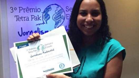 Marina Cardoso durante a premiação em São Paulo