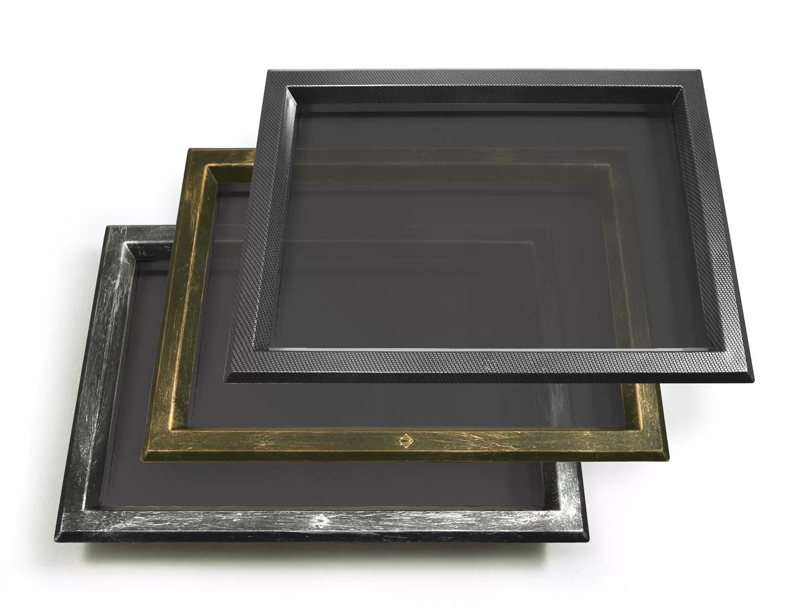 In ABS 525x350 trasparente/fumè, cromo maculato, bronzo e carbonio