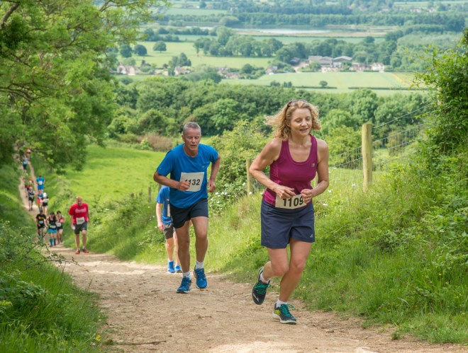 Heading for the top: Runners tackling the Bredon Cricket Club Tower Run 2017