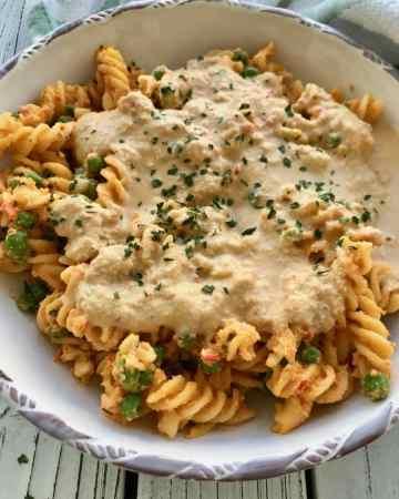 Vegan cheese sauce on pasta