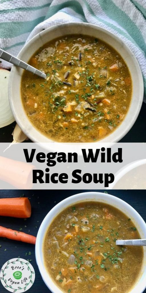 Pinterest image with two bowls of vegan wild rice soup and text overlay.