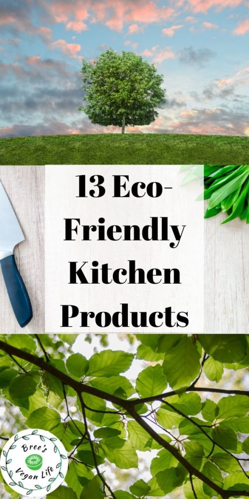 "Pinterest pin with text ""13 eco-friendly kitchen products"" with tree, branch, and leaf images."