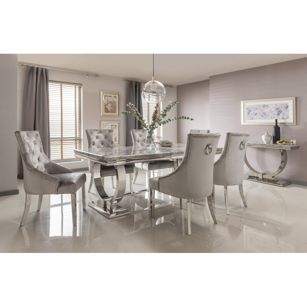 marble living room furniture area arianna dining table set in grey from breeze