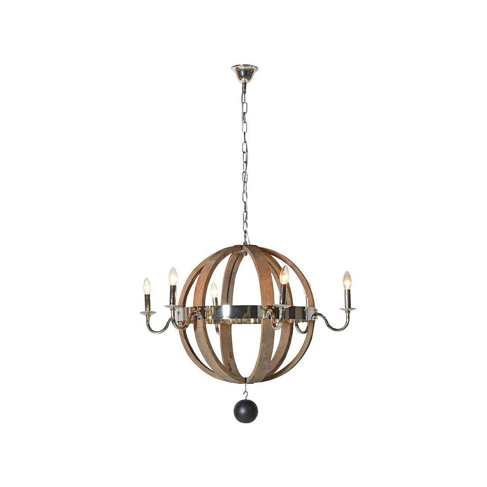 wood and nickel globe chandelier