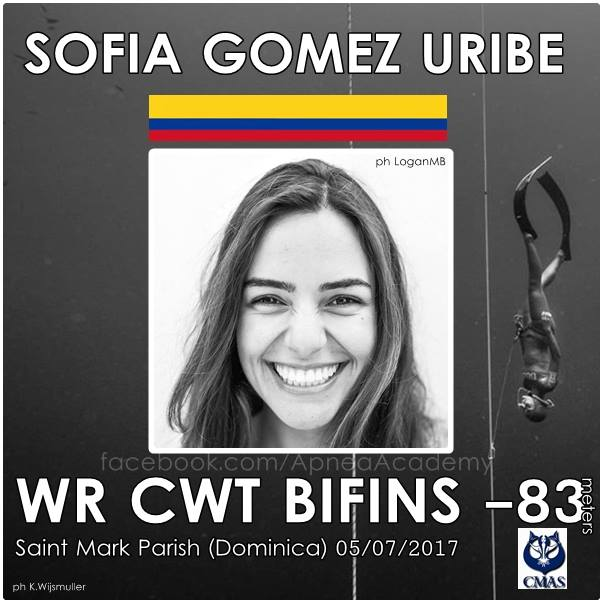 Sofia Gomez Uribe has set the world record in CWT Apnea