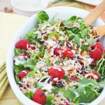 Raspberry and Toasted Coconut Spinach and Arugula Salad