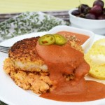 Breaded Pork Chops with Mashed Chickpeas and Roasted Jalapeno Tomato Sauce