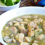 This Gluten Free Green Chile Pork Soup is a tangy southwestern brothy soup packed with green chile, lime, and cilantro flavors. A healthy gluten free soup year round.