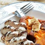 Jump into fall with this quick and easy fall inspired meal! Gluten Free Cinnamon Spice Rubbed Chicken with Maple Cream sauce is a tad bit sweet and a whole lot of savory. There is nothing like the aroma of sage and cinnamon while you cook.