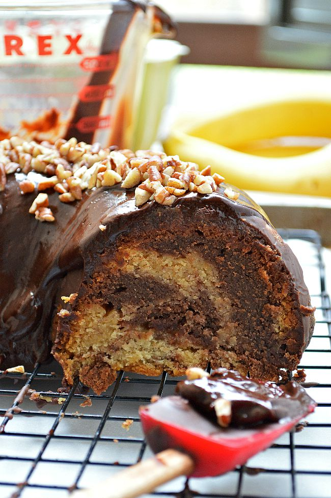 Chocolate? Vanilla? Can't decide? You don't have to with this Gluten Free Chocolate Vanilla Swirl Banana Bundt Cake. Two cups of bananas and instant pudding mix make this cake extra rich and decadent.