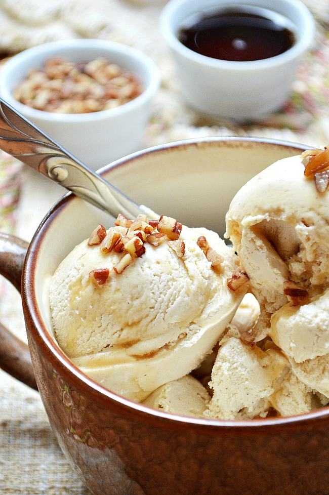 Enjoy cool treats year round with this fall flavored Gluten Free Cinnamon Maple Ice Cream. It's a chilly way to welcome the holidays.