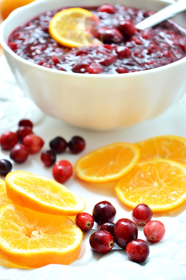 An utterly amazing flavor combo in this Gluten Free Clementine Cranberry Sauce that's perfect for your Thanksgiving or Christmas feast! Cooked with a mixture of sugar and maple syrup and combined with a splash of clementine juice for a zesty, tangy, wintery sauce.