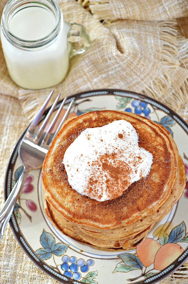 Go all out for breakfast with a stack of these Gluten Free Cinnamon Eggnog Pancakes that are reminiscent of the festive yuletide drink. Santa will want to join you for breakfast with these on the griddle!