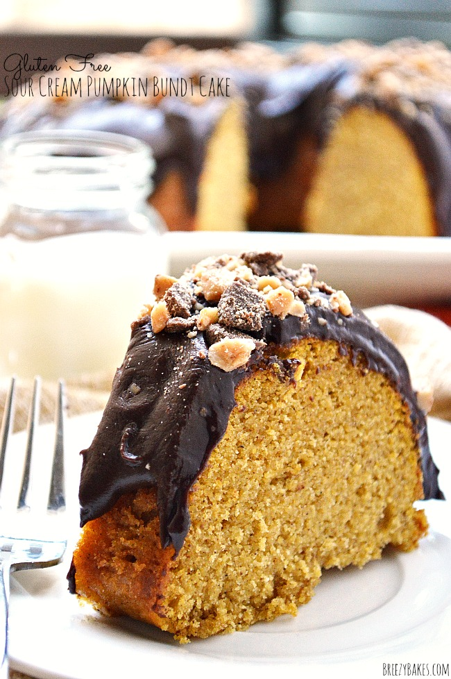 This Gluten Free Sour Cream Pumpkin Bundt Cake is a tender, moist, pumpkin spiced bundt cake topped with a creamy semi-sweet chocolate ganache and Heath bits.