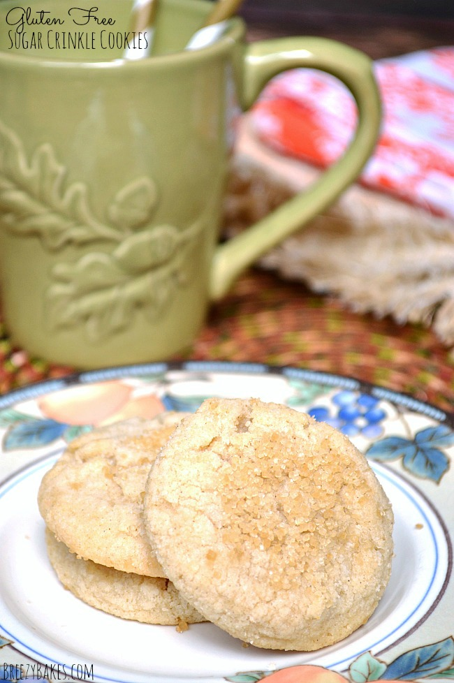 Try these easy Gluten Free Sugar Crinkle Cookies for the answer to a simple sweet tooth. There's nothing like a good old naked sugar cookie rolled in coarse sugar!
