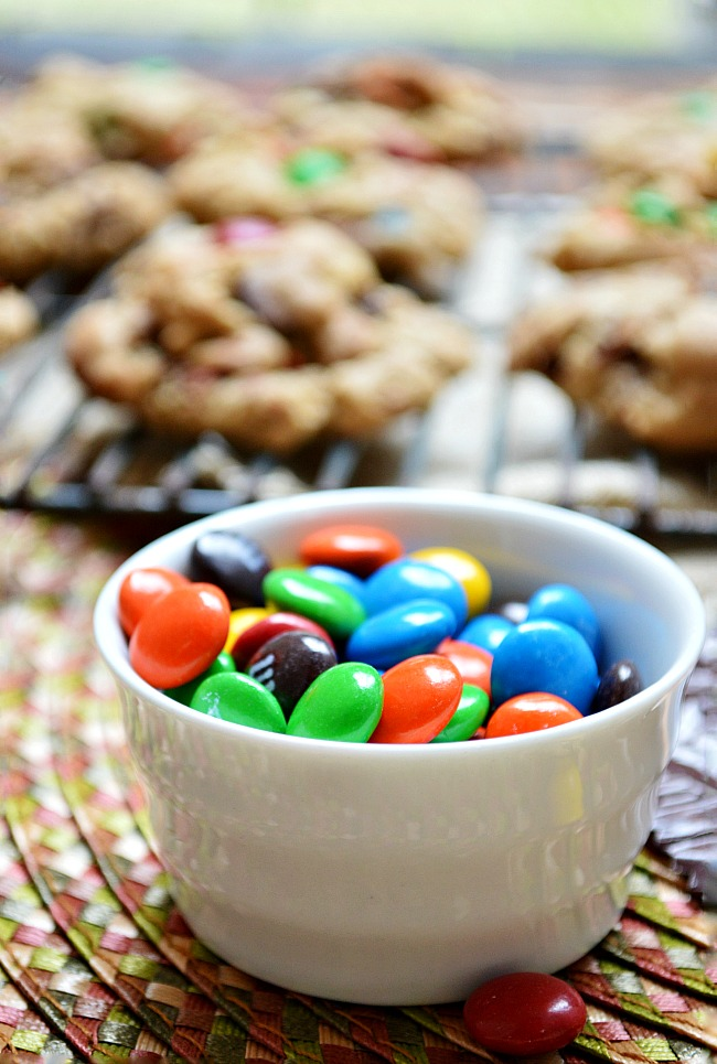 Get wild and crazy with all the yummy ingredients in these Gluten Free M&M Monster Cookies!