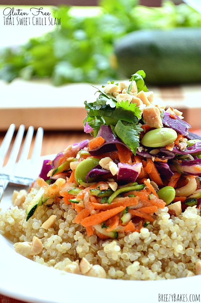 Whip up this sweet, spicy and tangy Gluten Free Thai Sweet Chili Slaw for a simple and healthy dinner, lunch, or side dish. Serve on top of brown rice or quinoa or inside tortillas for a satisfying meal.