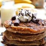 Wake up to these Gluten Free Chocolate Chip Banana Bread Oatmeal Pancakes for a hearty, healthy breakfast that will keep you energized throughout your day. Plus, who doesn't love a little chocolate for breakfast???!