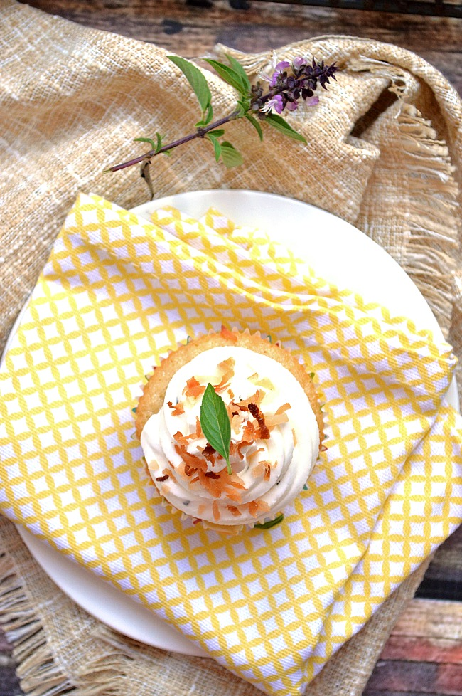 Even my kids enjoyed these super fancy Gluten Free Thai Basil Lemon Cupcakes with Lemon Curd and Thai Basil Lemon Buttercream. It's a burst of fresh summer flavors in your mouth!