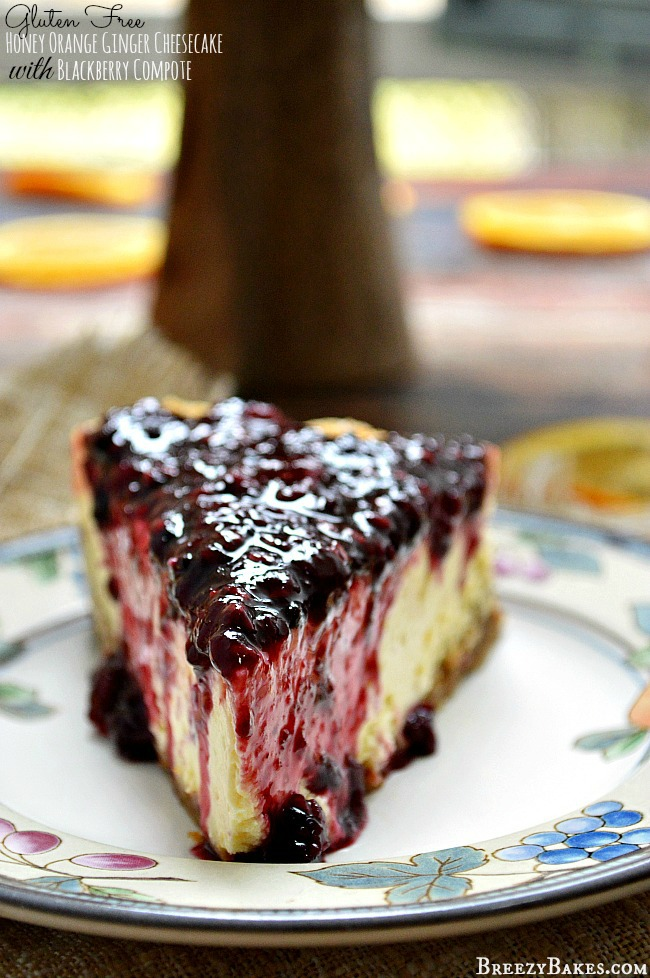 For a knock your socks off fancy dessert, you have to try this flavorful Gluten Free Honey Orange Ginger Cheesecake with Blackberry Compote. It's pure heaven!