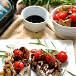 Tomato and Artichoke Rosemary Pork Chops with Balsamic Glaze