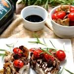 Tomato and Artichoke Rosemary Pork Chops with Balsamic Glaze