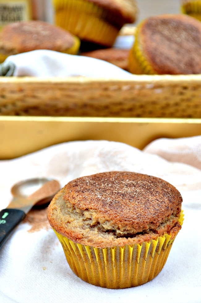 Hip hip hooray for these deliciously moist and cinnamony, sugary Gluten Free Snickerdoodle Muffins. They are a breakfast favorite around here!