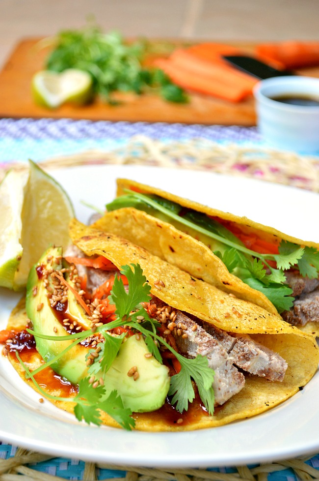 Try a twist on your Tuesday Taco night with these Gluten Free Asian Ahi Fish Tacos. The combination of seasoned fish, tangy carrot slaw, and a sweet teriyaki glaze is pure excitement!