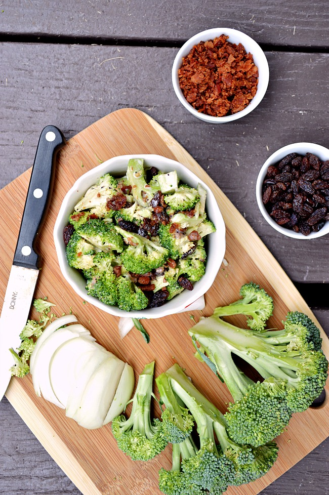 Try a lightened up version of this favorite party salad with this Gluten Free Healthier Broccoli Raisin Salad. Sweetened with honey, this recipe is 100% refined sugar free.
