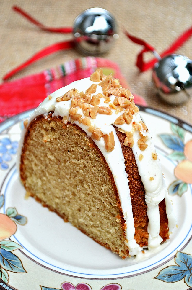 You'll have to pinch yourself to get over the pure deliciousness of this delectable holiday Gluten Free Eggnog Bundt Cake with Buttercream Eggnog Drizzle. Plan on it for your next Christmas party. It's a must!
