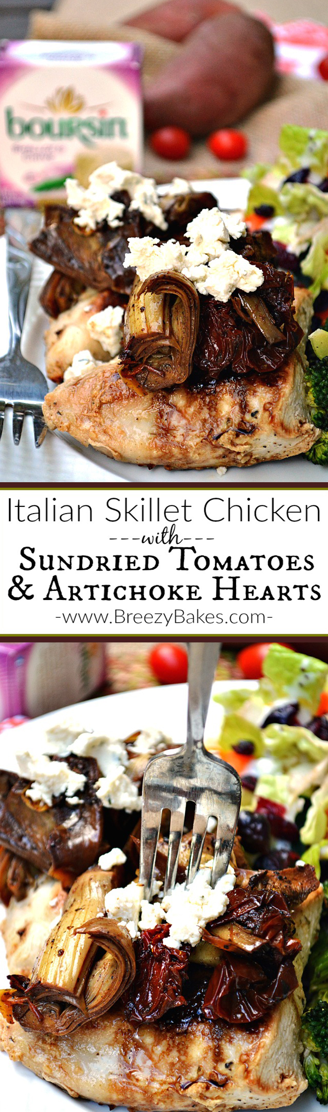 Feel like you're fine dining in a fancy restaurant when you dish up this Italian Skillet Chicken with Sun-Dried Tomatoes and Artichokes.