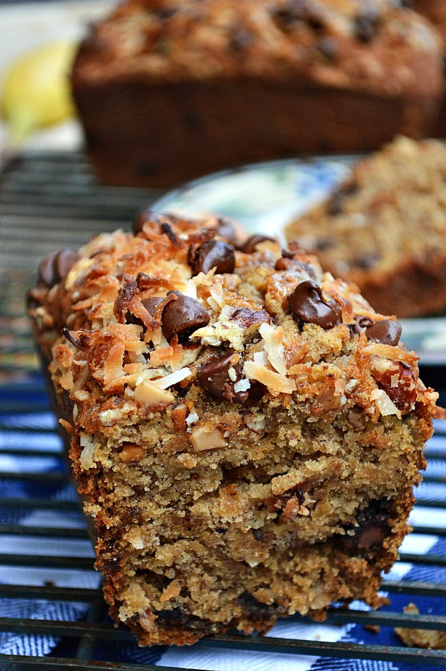 You will go absolutely bananas with the explosion of flavors happening in this Gluten Free Toasted Coconut Toffee Banana Bread. It's impossible to not wake up happy with this for breakfast.