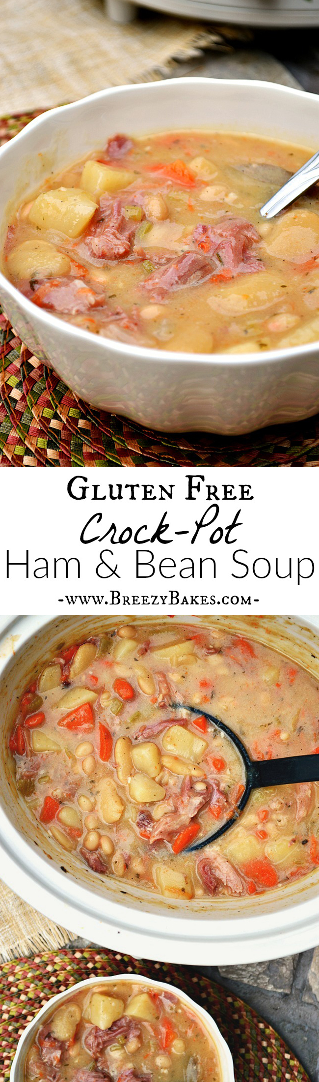 Don't throw out that coveted ham bone! There is way too much deliciousness to be made as in this Gluten Free Crock-Pot Ham and Bean Soup. Canned beans and a handful of fresh veggies bring this soup together in no time!